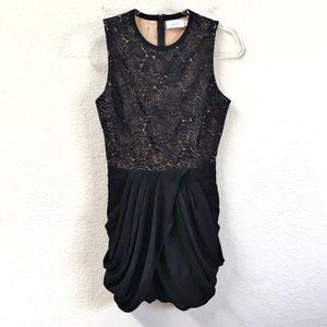A.L.C. Black Draped Mini Dress Roses